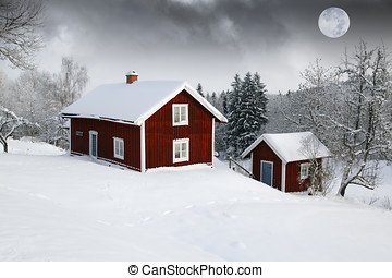 red cottages in moon light - small red cottages, snow and...