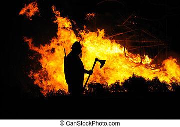 viking, queimadura, predios