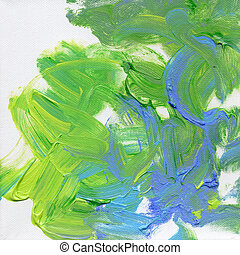acrylics hand painted on canvas - blue and green acrylics...