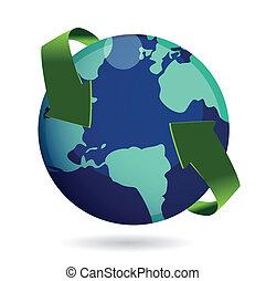 alrededor, mundo, concepto