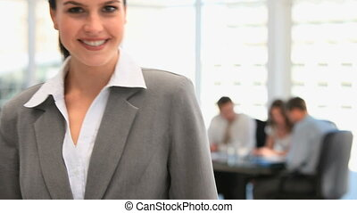 Pretty businesswoman smiling