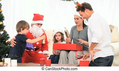 Family with Santa Claus - Family with the Santa Claus at...