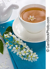 Cup of bird-cherry tea
