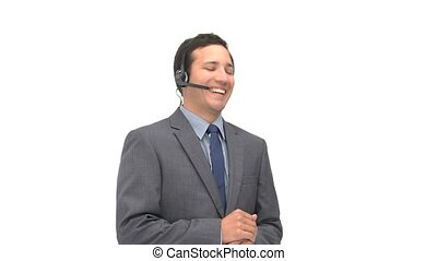 Happy man talking with headphones