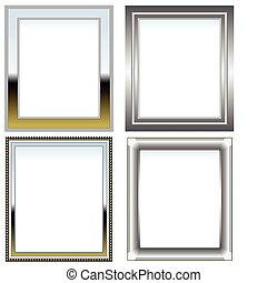 Silver and chrome frames - Set of four picture frames in...