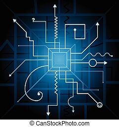 contraption schematic - Abstract background with stylized...