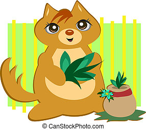Cat with a Potted Plant