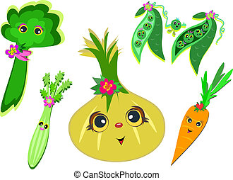 Mix of Happy Vegetables - Here is a group of fun vegetables...