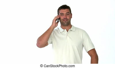 Happy man talking on the phone