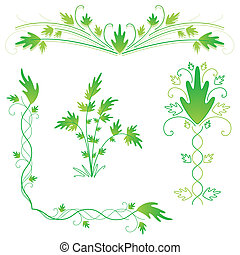 Leafy flourishes - Set of leafy green design fourishes and...