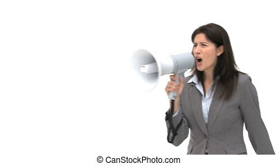 Businesswoman shouting through megaphone against a white...