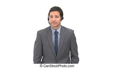 Joyful man talking with headphones