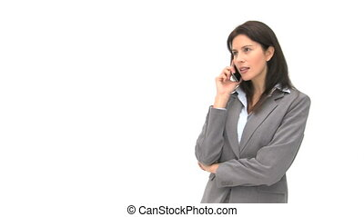 Laughing businesswoman talking on the phone