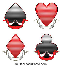 Card suit banners - Four stylized playing card suites with...