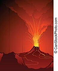 Erupting volcano - Volcanic landscape with noxious clouds...