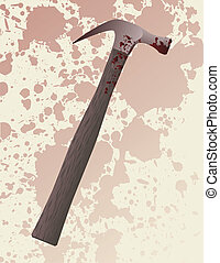 Hammer murder weapon - A blood splattered hammer fresh from...
