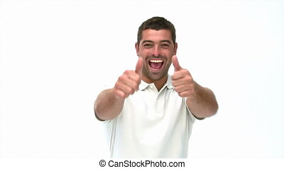 Man thumbs up to the camera against a white background