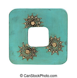 Blue frame - Decorative blue wooden frame isolated with...