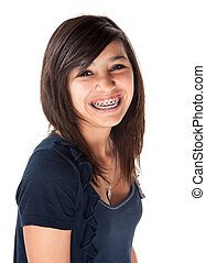 Cute Smiling Girl with Braces - Cute Hispanic teenage girl...