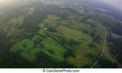 view from balloon - village, plain