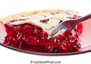 Cherry pie - A cherry pie closeup cut into with a fork Shot...