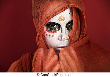 Day of the Dead Veil - Woman in makeup for Day of the Dead...