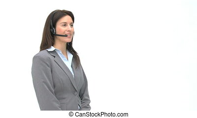 Happy businesswoman talking with headphones isolated on a...