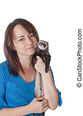 Portrait with the friend - The girl with a domestic polecat...