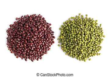 Legumes collection - Pile of adzuki and mung beans isolated...