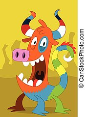 Taurus pig-like alien monster with - Taurus with stripe horn...