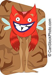 Funny looking red alien monster with wings and fluffy arms,...