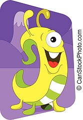 Yellow wormlike alien monster on a purple mountain...