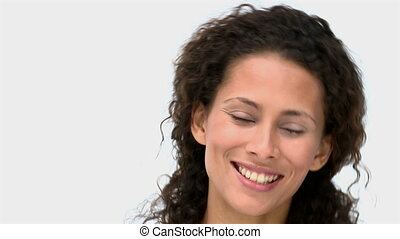 Closeup of a happy woman to the camera
