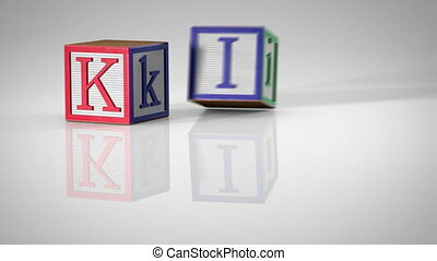 "Children's Blocks Spelling ""KIDS"""