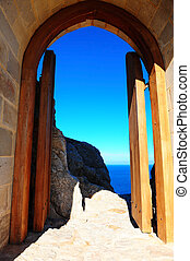 Gate - View of the Blue Sky and Sea Through the Gate of the...