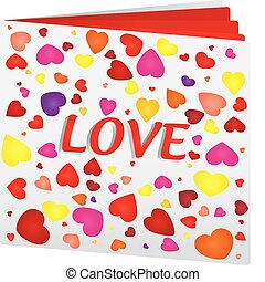 Book with hearts on top as love book, vector illustration