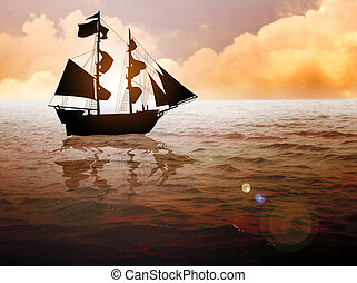 Sailing Ship - Stock image of a traditional sailing ship at...