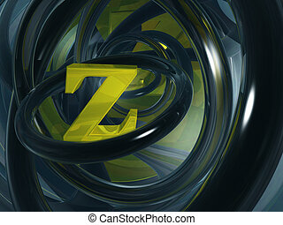 letter z - uppercase letter z in futuristic space - 3d...