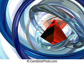 pyramid - abstract futuristic background with red pyramid -...