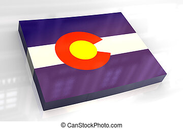 3d flag map of Colorado - 3d made - flag map of Colorado