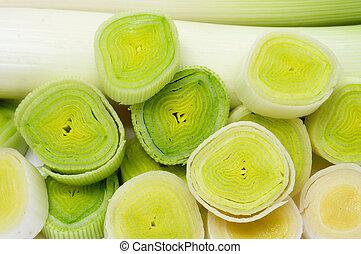 chopped leeks - close up of some chopped leeks