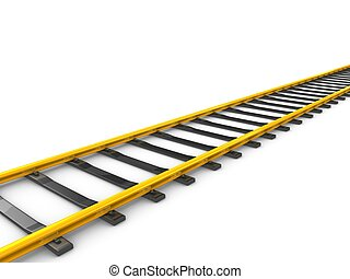 railway track - 3d rendering Gold railway track, isolated on...