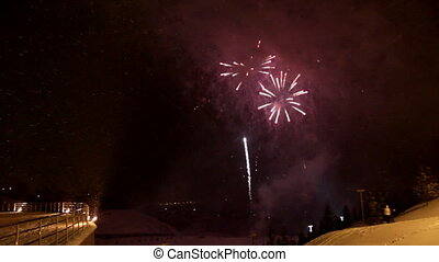 celebration fireworks at winter