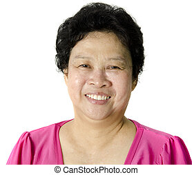 Senior Asian Woman - Happy 60s Senior Asian Woman on white...