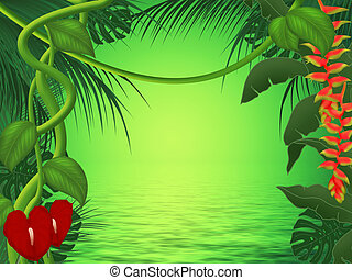 Sunset in jungle - Background or frame illustration