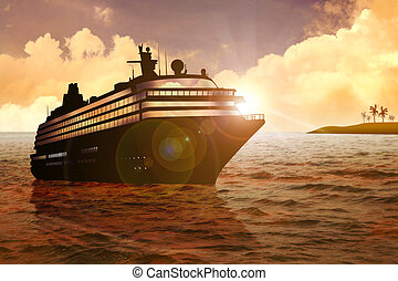 Cruise - Stock Illustration of a cruise at sunset