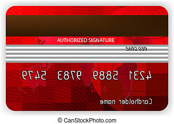 Vector red credit cards, back view EPS 8 vector file...