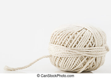white ball of twine - closeup from white ball of twine,...