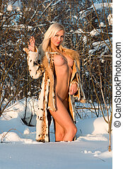 Winter naked portrait - Winter portrait of the beautiful...
