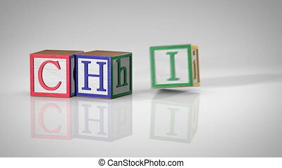 "Children's Blocks Spelling ""CHILD"""
